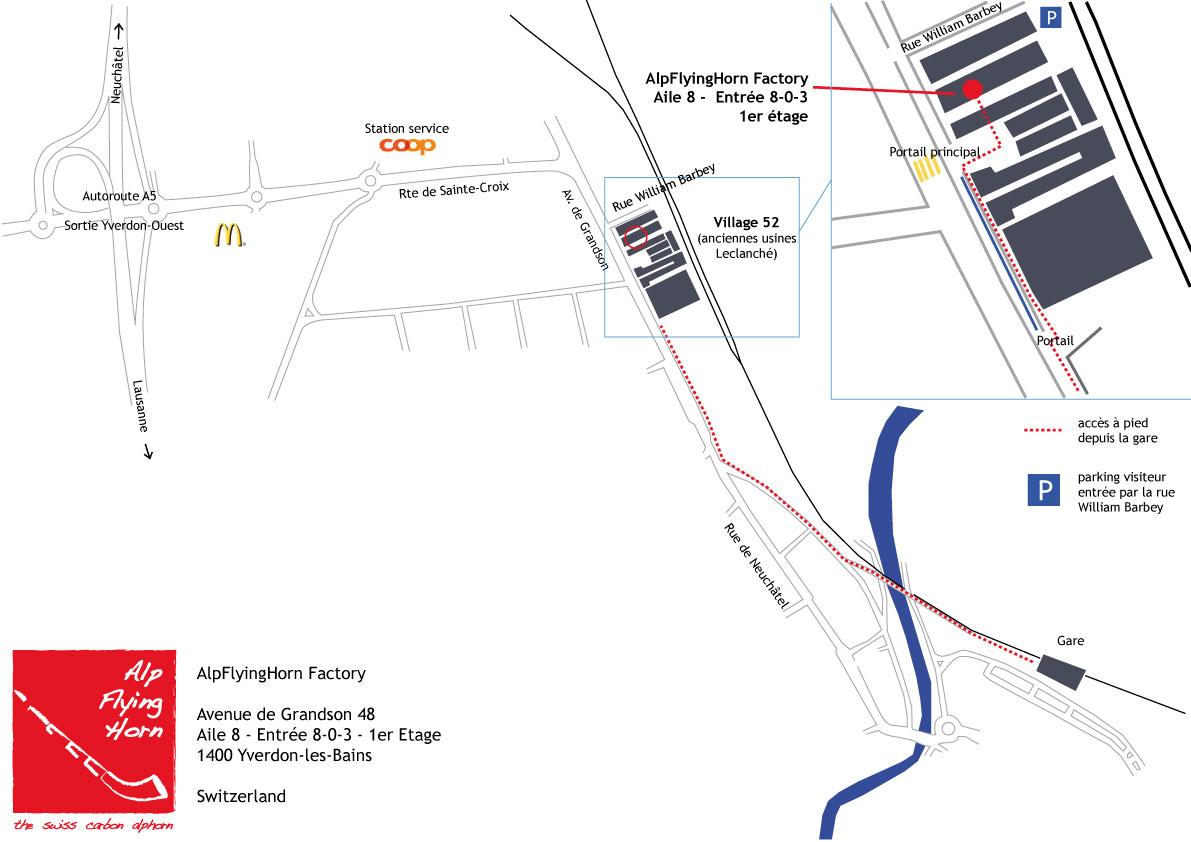 plan accès alpflyinghorn factory
