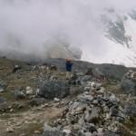 Col du Salkantay à 4600m d'altitude sur le chemin de Cusco au Machu Picchu - Pérou - 2003