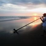 sunset-music on a empty beach